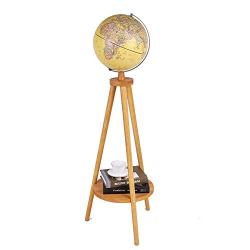 CYLAMP Stehlampe Holzstativ Bodenlampe Wohnzimmer Kugel 360° Kreativ Globus Nachtlicht Leselampe LED Aufladbar USB-Anschluss, Weiches Stimmungslicht Standlampe,Gelb