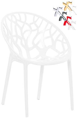 CLP Design-Gartenstuhl Crystal aus Kunststoff I Wetterbeständiger Stapelstuhl mit Einer maximalen Belastbarkeit von 160 kg I wählbar weiß Glanz