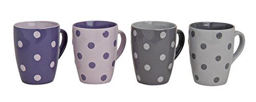 Tassen-Set in Lila & Grau mit Pünktchen Motiv   Große Teetassen & Kaffeetassen mit 300ml Volumen   4-teiliges gepunktetes Keramik-Tassen Set   farbliche Becher für Heißgetränke mit großem Henkel