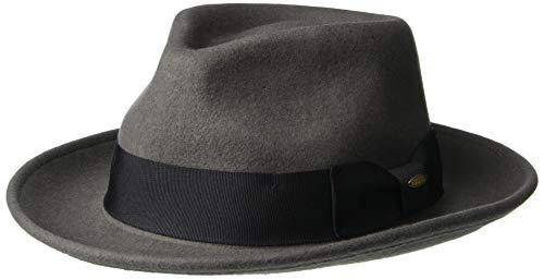 Scala Classico Men's Crushable Water Repelant Wool Felt Fedora Hat, Grey, X-Large -  DF109-GREY