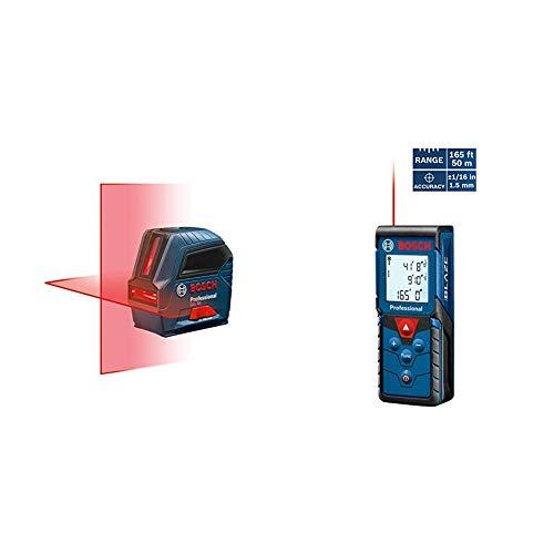 Bosch Self-Leveling Cross-Line Red-Beam Laser Level GLL 55 & Blaze Pro 165' Laser Distance Measure GLM165-40