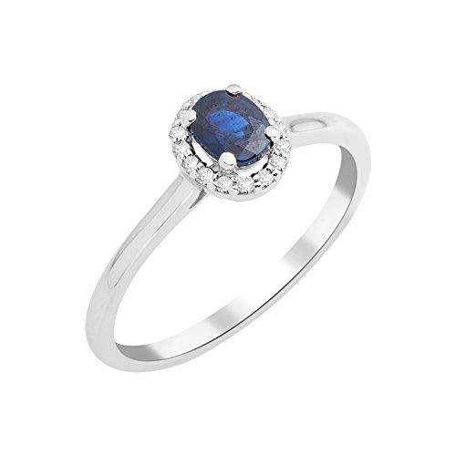 Miore anillo de compromiso solitaire de diamantes 0.06 quilates y zafiros 0.47 quilates en oro blanco 375 de 9 quilates oro. (16)