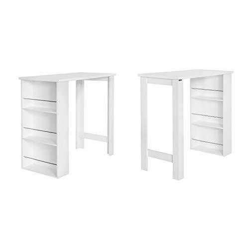 SoBuy® Bartisch, Beistelltisch, Stehtisch, Küchentheke, Küchenbartisch mit 3 Regalfächern, Tresen, weiß - 4