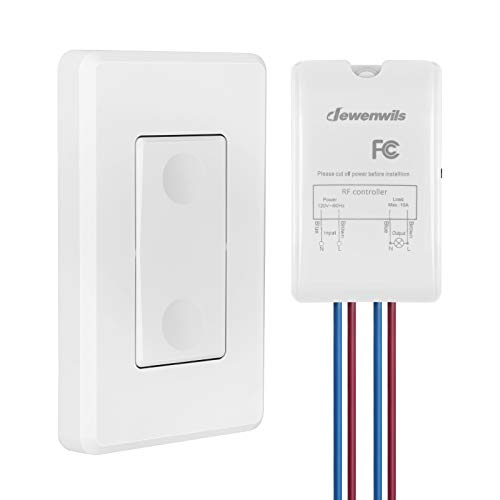 DEWENWILS Wireless Light Switch and Receiver Kit, Wall Switch Remote Control Lighting Fixture for Ceiling Lights, Fans, Lamps, No in-Wall Wiring Required, 100 Ft RF Range, Programmable