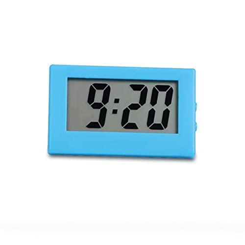 Kfhfhsdgsanz Despertador, Escritorio Digital Clock Screen Autoadhesivo Soporte del Coche Reloj plástico Tiempo (Color : Blue)