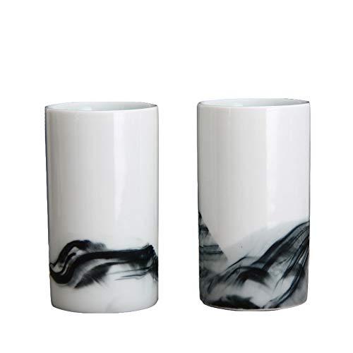 Ink Landscape keramische mokken, Advanced Coffee White mokken, 2 verpakkingen, smaakvolle geschenken voor bruiloft, 8-9 oz, origineel handgemaakt, voor kantoor en thuis