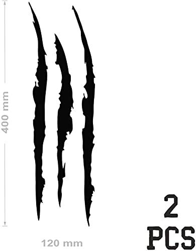 NewTeam 2 pegatinas para coche con forma de grafito | Tuning Sport | Stickers de vinilo adhesivos con forma de garras de monstruo para su moto o coche exterior 40 x 12 cm (negro)