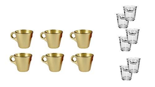 James Premium Espresso-Tassen mit Henkel 6 Stück, 80 ml Gold + Aktion 6 Wassergläser