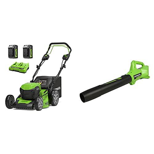 Greenworks Tools GD24X2LM46SPK4x Cortacéspedes rotativos + Axial Soplador de Hojas Alimentado por Batería G24AB, Li-Ion 24V, Soplador axial con Control electrónico de Velocidad