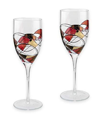 Par de Copas de Vino de Calidad con diseño de Mosaico, Color Rojo y Blanco, soplado a la Boca, Cristal Decorado a Mano, rubí/Oro, Ideal como Regalo de 40 Aniversario de Boda, 24 cm