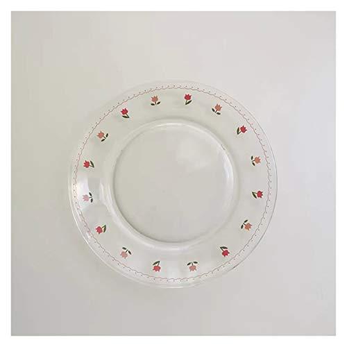 JSJJRFV Taza de Agua Placas de cerámica Placas de cerámica Placas para la Cena para la decoración de Placa de Vidrio de Alimentos Vajilla Japonesa para Servir Bandeja de Pastel (Color : A)