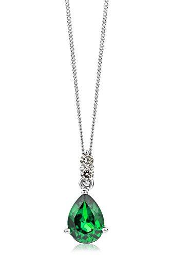 Miore Kette Damen 0.06 Ct Diamant Halskette mit tropfen Anhänger Edelstein/Geburtsstein Smaragd in grün und Diamanten Brillanten Kette aus Weißgold 9 Karat / 375 Gold, Halsschmuck 45 cm lang