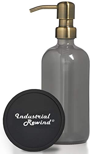 Gray Lotion Dispenser - Soap Dispenser with Coaster for Non Slip Bottom / Countertop Protector Soap, Dish Soap Dispenser with Brass Metal Pump (Grey/Brass, 8oz)