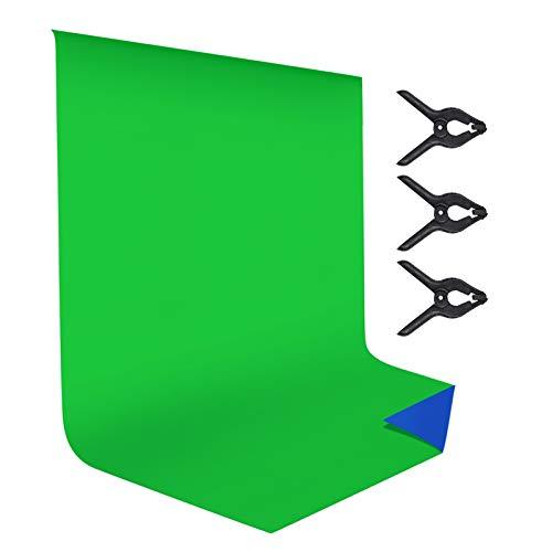 Andoer Pro Fondo Fotográfico 2X3M, Croma Fondo Chroma Key, Plegable Telón de Fondo de 100% Pura Muselina para Estudio Fotográfico para Fotografía, Vídeo y Televisión Green Screen, Azul y Verde 2 en 1