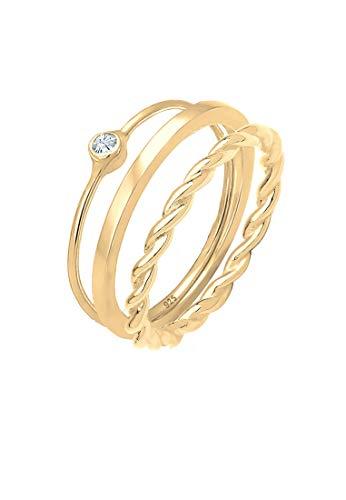 Elli Ring Damen Ringset Solitär Swarovski Kristalle in 925 Sterling Silber