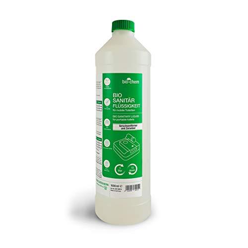 Bio-Chem Sanitärzusatz/Bio Sanitärflüssigkeit für Campingtoilette 1 L Konzentrat für Camping-Toilette, Chemietoilette-Flüssigkeit sowie Mobile Toilette