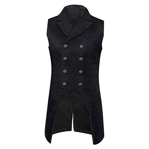 chiwanji Herren Gothic Steampunk Weste ärmellos Tailcoat Jacquard Brokat Doppelreihige Weste für Kostüm, Weihnachten, Halloween - XL