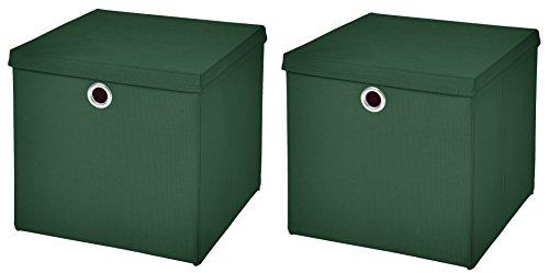 Stick&Shine 2X Aufbewahrungs Korb Dunkelgrün Faltbox 32 x 32 x 32 cm Regalkorb faltbar mit Deckel