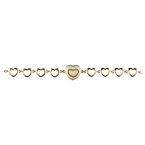 THUN - Bracciale Donna Nove Cuori Placcato in Oro - Ceramica, Ottone Placcato Oro - 17 cm (+4 cm)