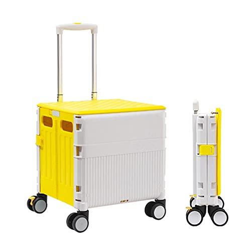Carretilla con Caja Plegable Carrito de Compras con Ruedas 45L, Caja de Almacenamiento de Altura Ajustable Cajas de Almacenamiento Rueda Universal silenciosa Resistente al Desgaste (Color : Yellow)