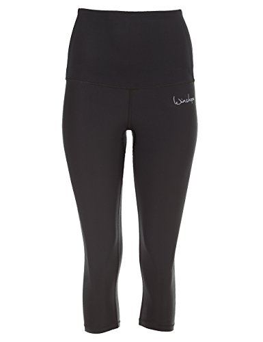 WINSHAPE Damen Functional Power Shape 3/4-Tights High Waist HWL202, schwarz, Slim Style Fitness Freizeit Sport Leggings, M