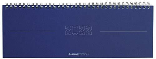 Tisch-Querkalender Papyrus Blau 2022 - Büro-Planer 29,7x10,5 cm - Tisch-Kalender - 1 Woche 2 Seiten - Ringbindung - Alpha Edition