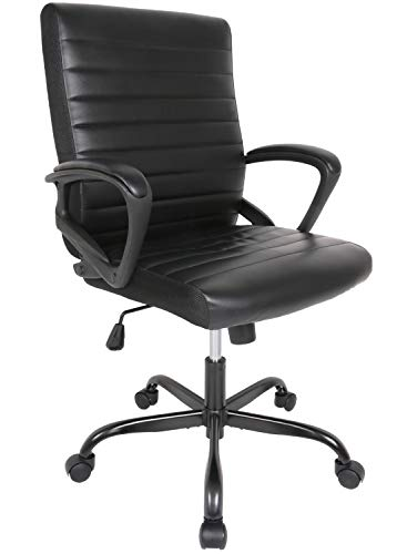 Office Chair, Desk Chair Ergonomic Executive Bonded Leather Computer Chair, Black