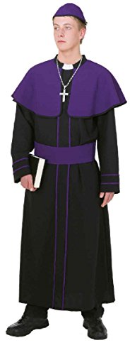 O7048-50-52 - Disfraz de cardenal para hombre, talla 50-52, color negro y morado