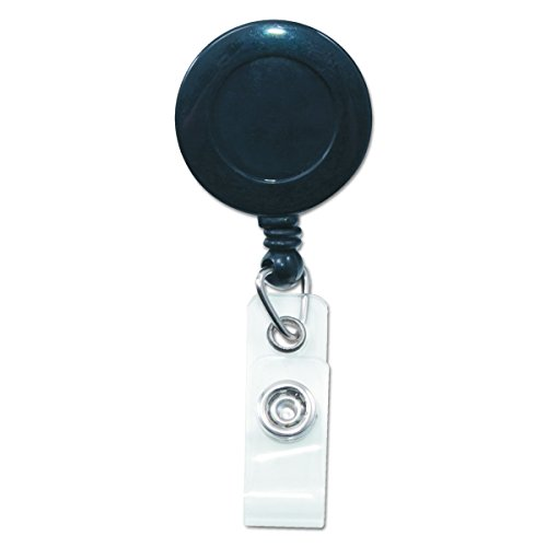 ADVANTUS Swivel-Back Clip-On Retractable ID Reels with Badge Holders, 30-Inch Cord, Pack of 12, Black (75548)