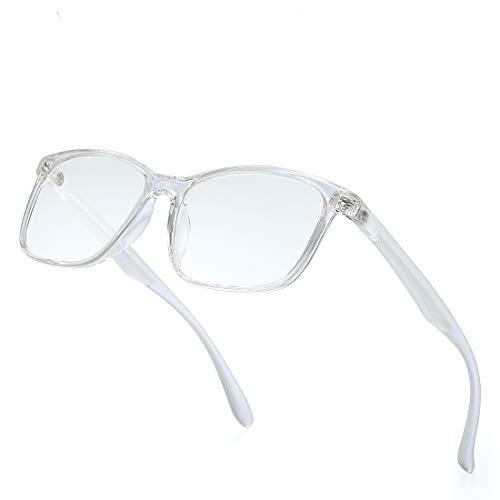kimorn Blaulichtfilter Brille - computerbrille - Anti Müdigkeit, Anti Blaulicht (TV, PC, Bildschirme…) Für verbesserten Schlaf KS102 (Transparenter Rahmen/Blaulicht-Blockierlinse)