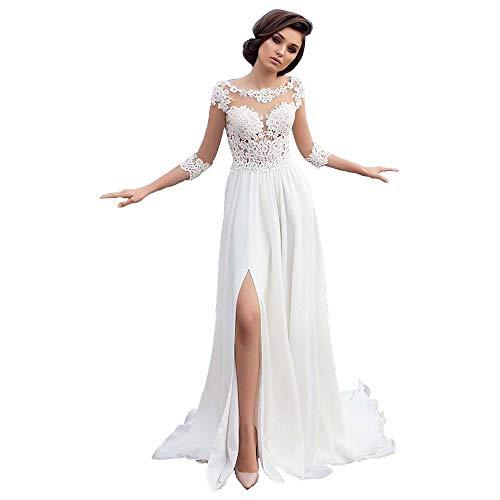 Nanger Chiffon Kant voor dames, bruiloftsjurk, standesam boho, bohemian bruidsjurk, strand, lang met gleuf