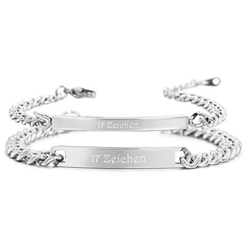MeMeDIY 2 PCS Silber Ton Edelstahl Armband Link Handgelenk Lieben Paar Paare Panzerkette Gravur