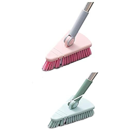MRZJ Cepillo de limpieza de suelo escalable, giratorio, para bañeras y azulejos, cepillo para juntas con cerdas rígidas, cabezal triangular y barra extensible (rosa y verde)