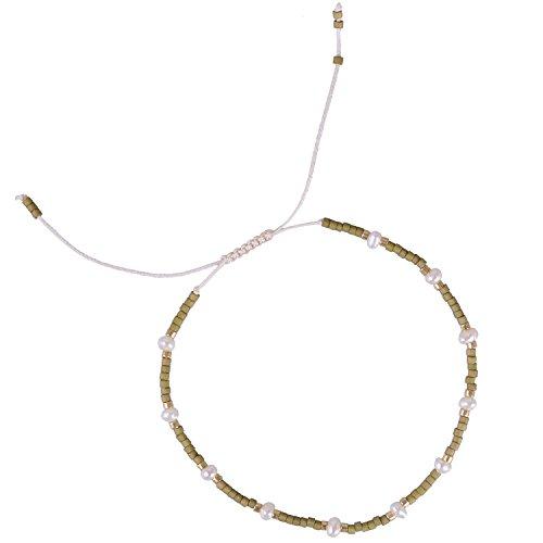 KELITCH Armband Damen Herren Handmade Armbänder Einfachen Zierlich Gliederungen Synthetic-Perle Samen Perlen Freundschaftsarmbänder - Olivgrün