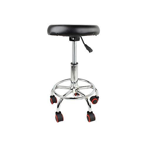 KLYHCHN Stühle Polster Side Chair Küche Zimmer Stühle Wohnzimmer Lounge Adjustable Barber Stühle Hydraulische Rollen Drehhocker Salon Tattoo Gesichtsmassage Salon-Möbel (Schwarz)