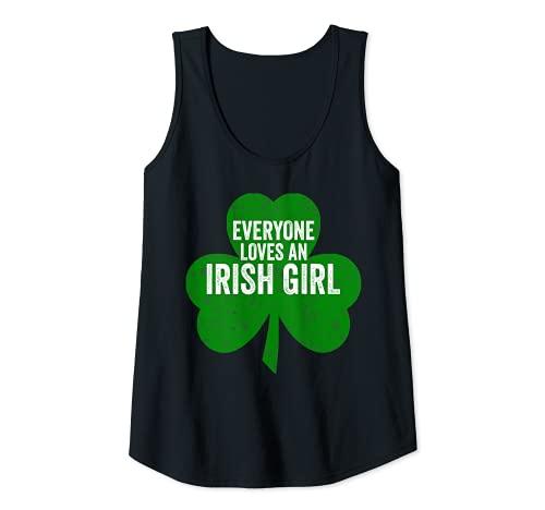 Mujer Día de San Patricio Divertido Regalo Todo el mundo ama a una chica irlandesa Camiseta sin Mangas