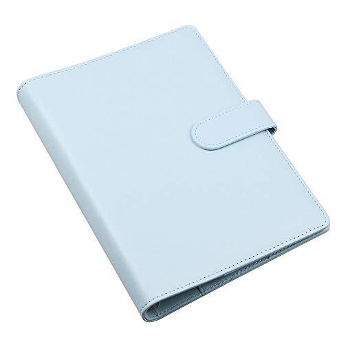 Senrise - Funda para cuaderno A5, de piel suave, con anillas, funda protectora con bolsillos, para regalo, personalizable, diario, cuaderno de viajero, hecho a mano, azul