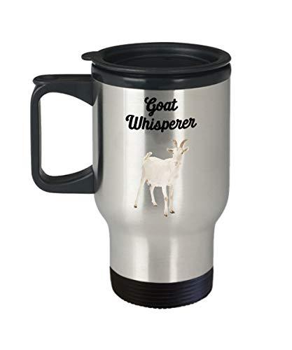 Taza de viaje con diseño de cabra Whisperer Funny Tea Hot Cocoa Café aislado Vaso de regalo de Navidad para cumpleaños, 14 oz, plata