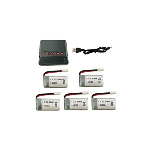 ACHICOO 5 Teile/Satz 3,7 V 300 mAh Lithium-Batterie mit 5-in-1 Ladegerät für H8 H22 E-achine H8 Mini Quadcopter Ersatzteile Drone Ladegerät Spaßgeschenke für Kinder