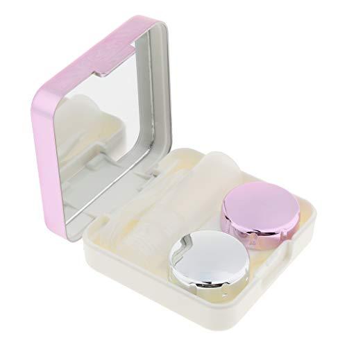 MERIGLARE Tragbare Außenspiegel Kontaktlinsenkoffer Travel Kit Aufbewahrungsbox Container - Rose Rot, 6,2 x 6,2 x 2 cm