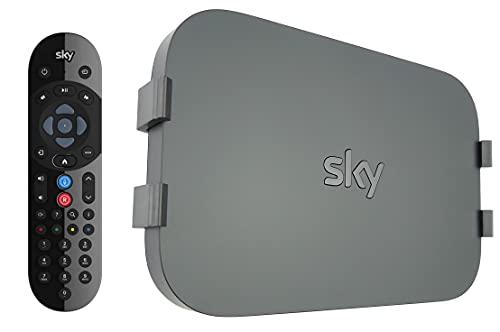 Sky Q Voice Remote Control and Q-View Sky Q Mini Wall Mount Bracket Clip Package - Sky Q Bracket for Sky Q Mini Box