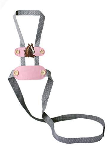 Nordje Pferdeleine zum Spielen für Kinder rosa   Pferdegeschirr zum Spielen mit Klettverschluss individualisierbar, Handmade mit großer Auswahl (brauner Kopf)