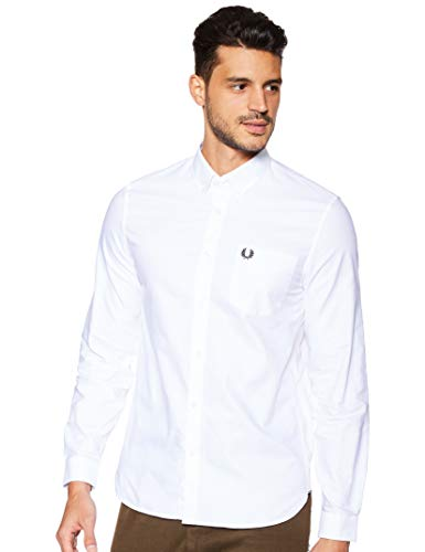Fred Perry Fred Perry Herren Classic Oxford Long Sleeve Shirt Button Down Hemd, weiß, Mittel