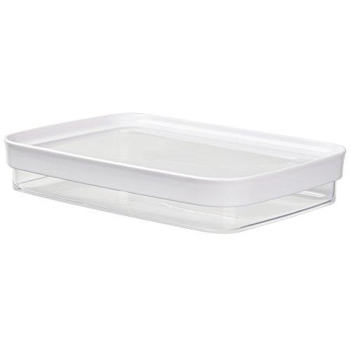 Emsa 513560 Stapelbares Aufschnittbox-System, 100 % Keimfrei, 0.7 Liter, Weiß/Transparent, Optima