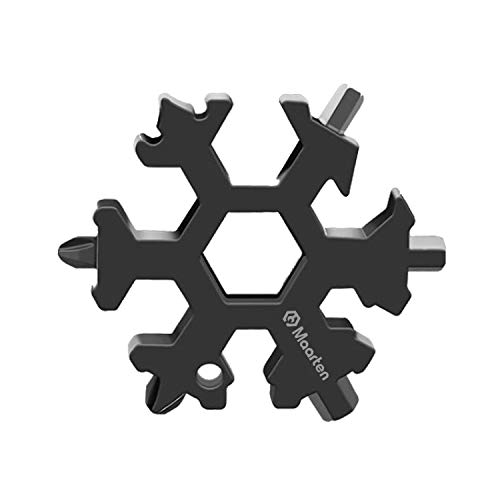 18 in 1 Stainless Steel Snowflakes Multi Tool Incredible Tool Outdoor Wrench Multi tool STANDARDMETRIC Snowflake Wrench Cool gadgets Screwdriver Bottle openerCamping Great Christmas giftBlack