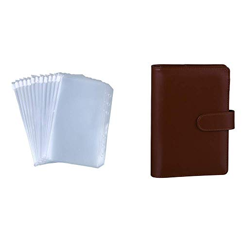 Antner 12 Pieces A6 Binder Pockets Bundle   A6 PU Leather Notebook Binder (Brown)