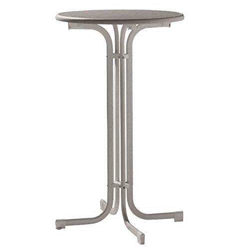 Sieger 237/G Party-Klapptisch mit mecalit-Pro-Platte Ø 70 cm, Stahlrohrgestell eisengrau, Tischplatte Schieferdekor anthrazit