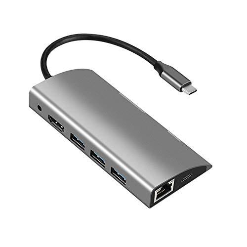 GWX 9 in 1 Type C Docking Station USB C HUB Expansion Converter Mobile Phone Laptop Computer Hub with 3*USB3.0/1*HDMI/1* RJ45 (Gigabit) TF/SD/ 1*USB-C/ 1*JACK