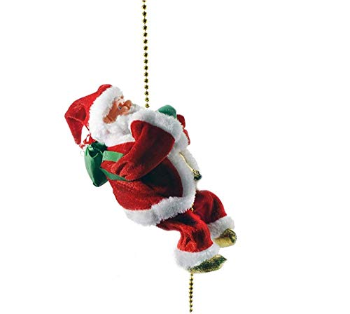 """Hugee Climbing Santa Claus 9"""" Christmas Ornament Decoration Toy with Light Music and Sound, Xmas Animated Musical Climbing Santa, Climbs Up and Down"""
