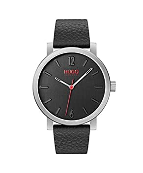 HUGO by Hugo Boss Men s Stainless Steel Quartz Watch with Leather Strap Black 20  Model  1530115